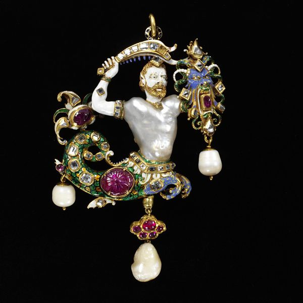 The Canning Jewel, most likely of European origin c. 1800-1865, with enameled gold, natural pearls, table cut diamonds and Indian rubies.