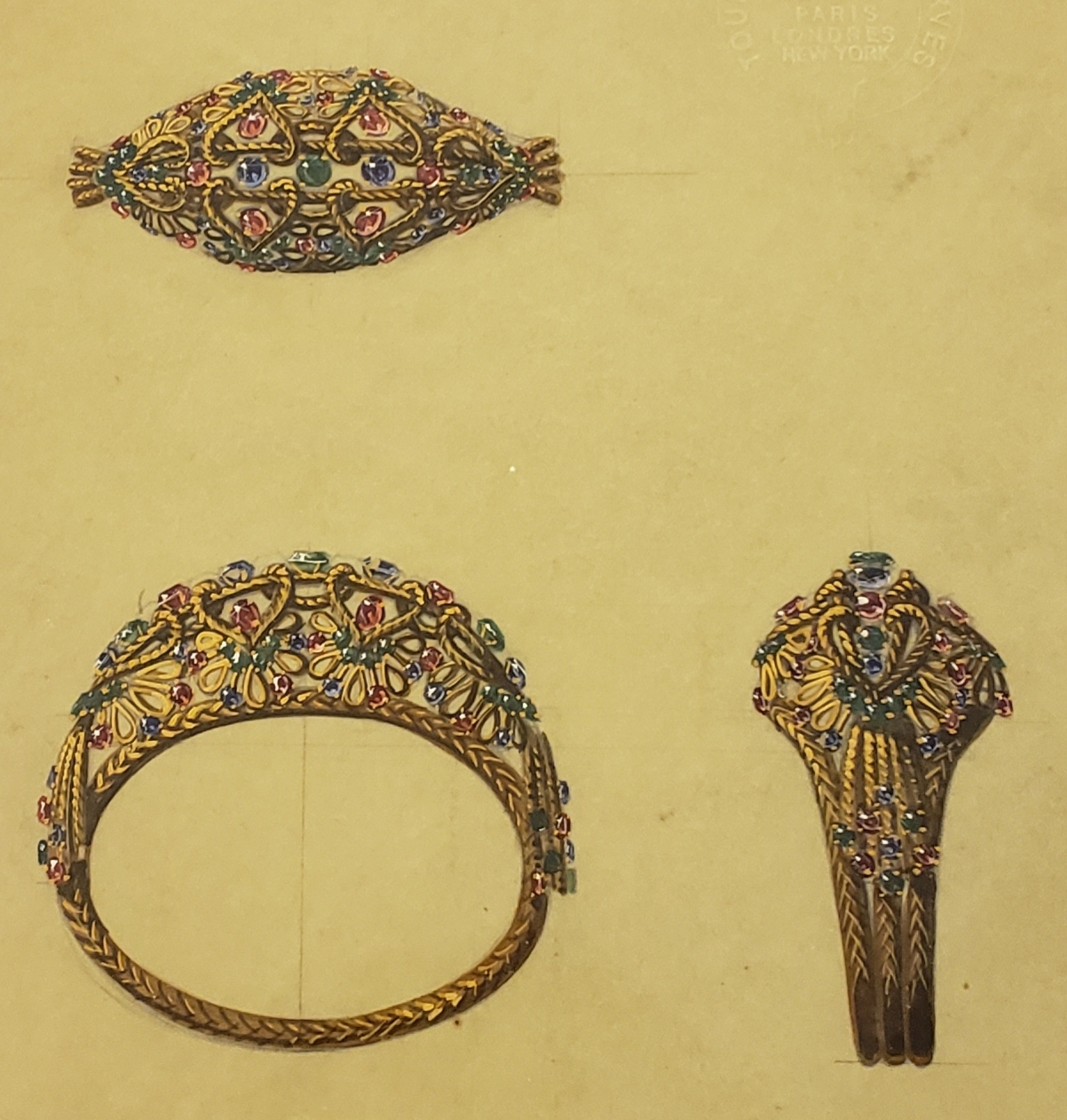 Gold and colored stone cuff bracelet, c. 1950