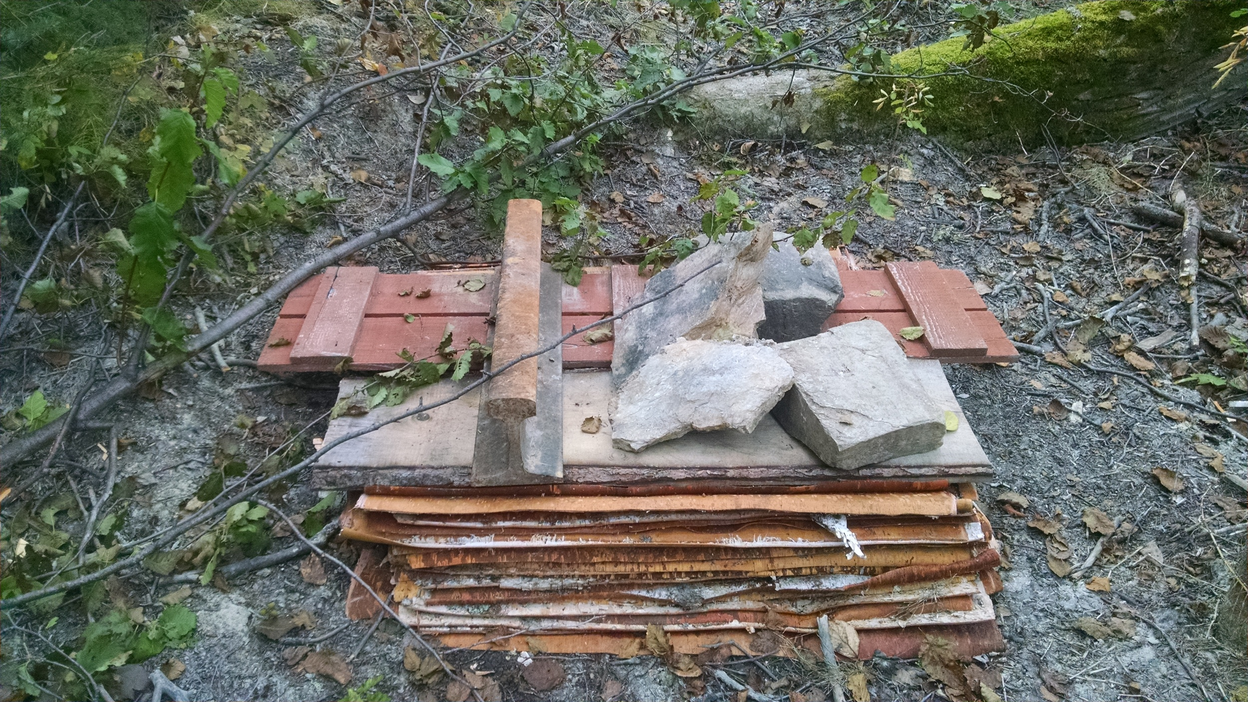Several dozen large sheets of Birchbark, stored flat under weight, so they don't curl.