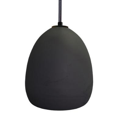 Hammers & Heels Ceramic Black Cloth Cord Clay Pendant Light