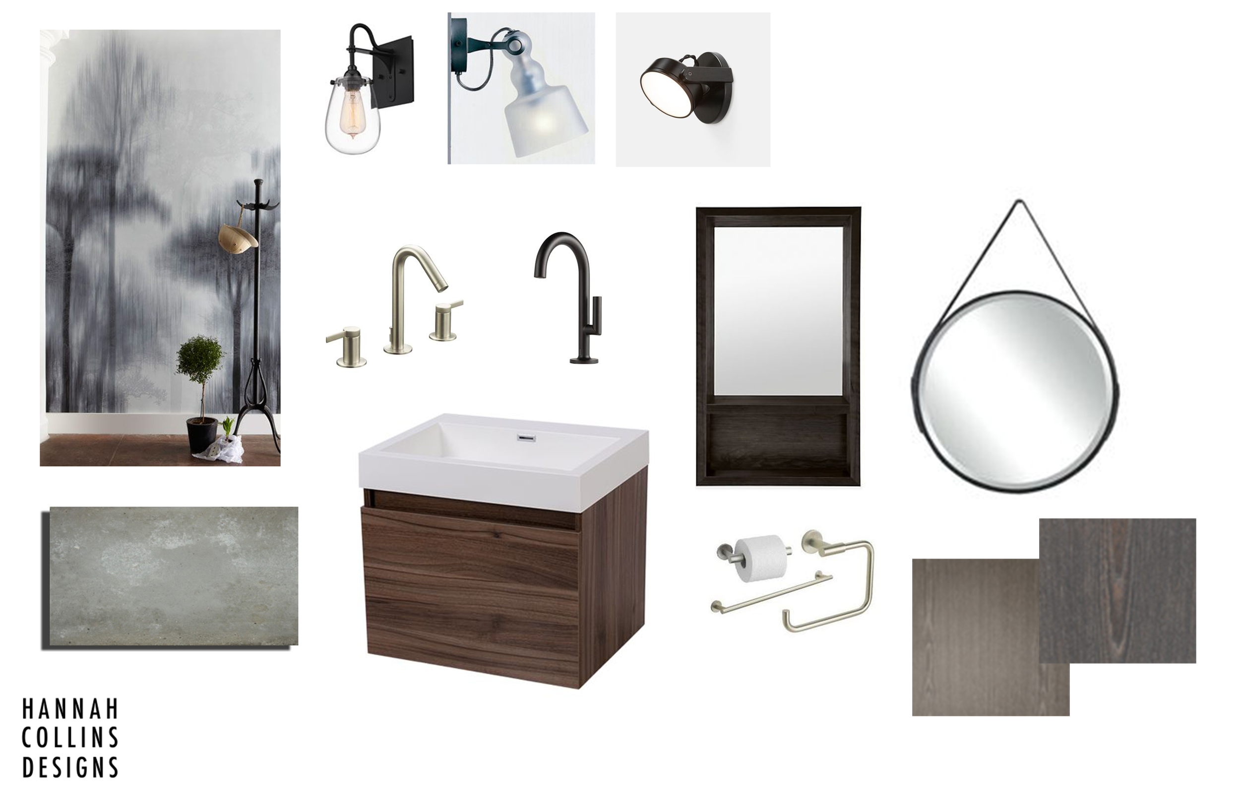 powderroom bathroom remodel moodboard