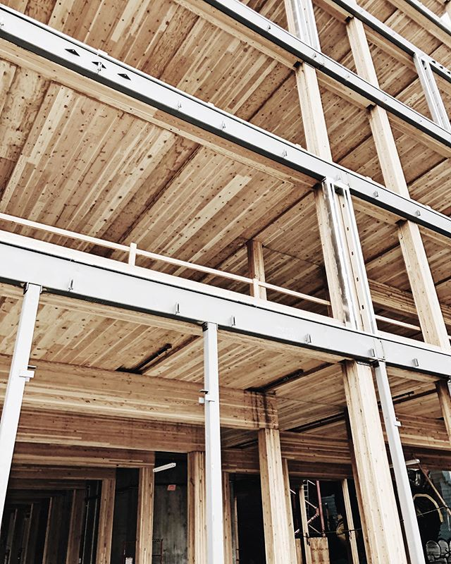 Portland buildings... . . . . . . . . . #interiors #interiordesign #building #designbuild #architecture #architectureanddesign #designer #designlife #designblog #blog #construction #process #portland #timber #lotsofwood #wood
