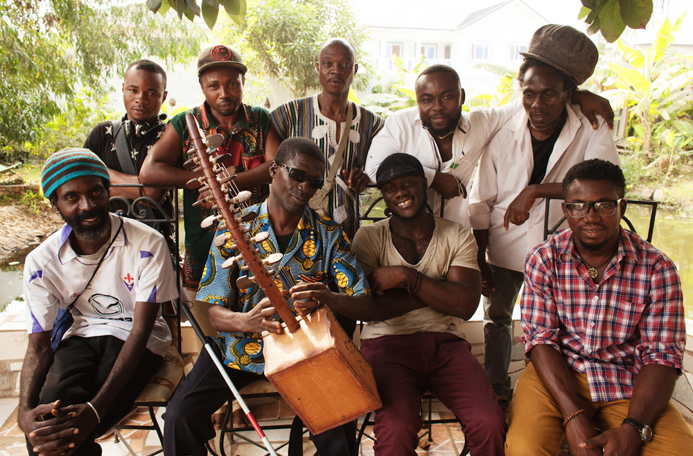 """Vivivi's yet to be released album, titled """"Ensisie Nye"""" - meaning cheating is no good- written by Kodua Boateng featured the artists who appear above Ayisi (guitar), Nana Boakye(keyboard) Awingura (kologo), Nii Doddo (gombe), seated ; Sulley (percussion), Kodua Boateng (seperewa and mbira), Arhin (drummer) and Papa Yaw (keyboard)."""