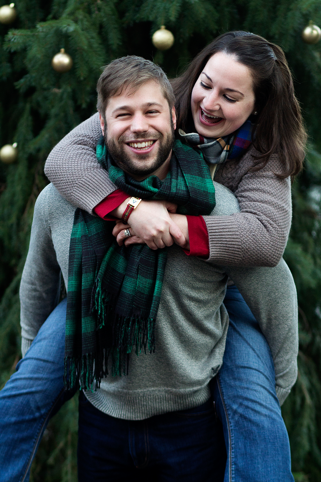 Christmas Couple Piggy Back Ride