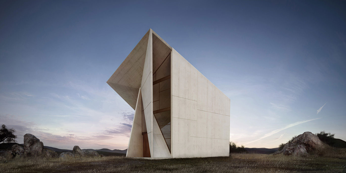 Chapel in Valleaceron by S.M.A.O. Architects. Rendering by Atelier Crilo