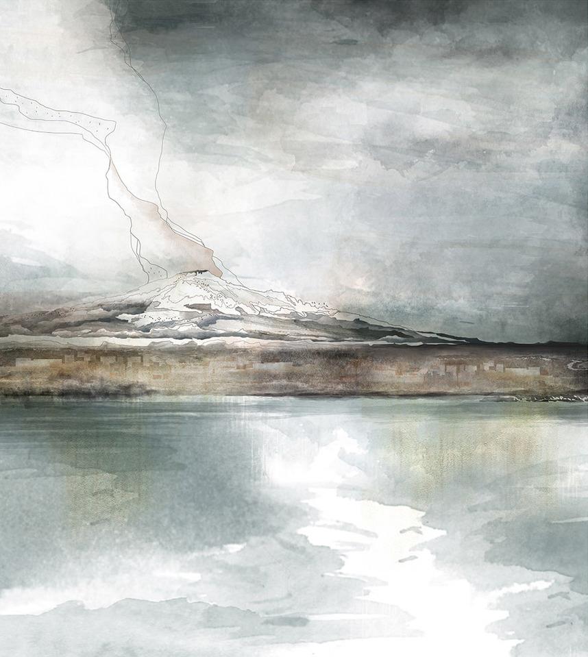 Etna , 58 x 63 cm, 2017. Digital coloring on sketch handmade