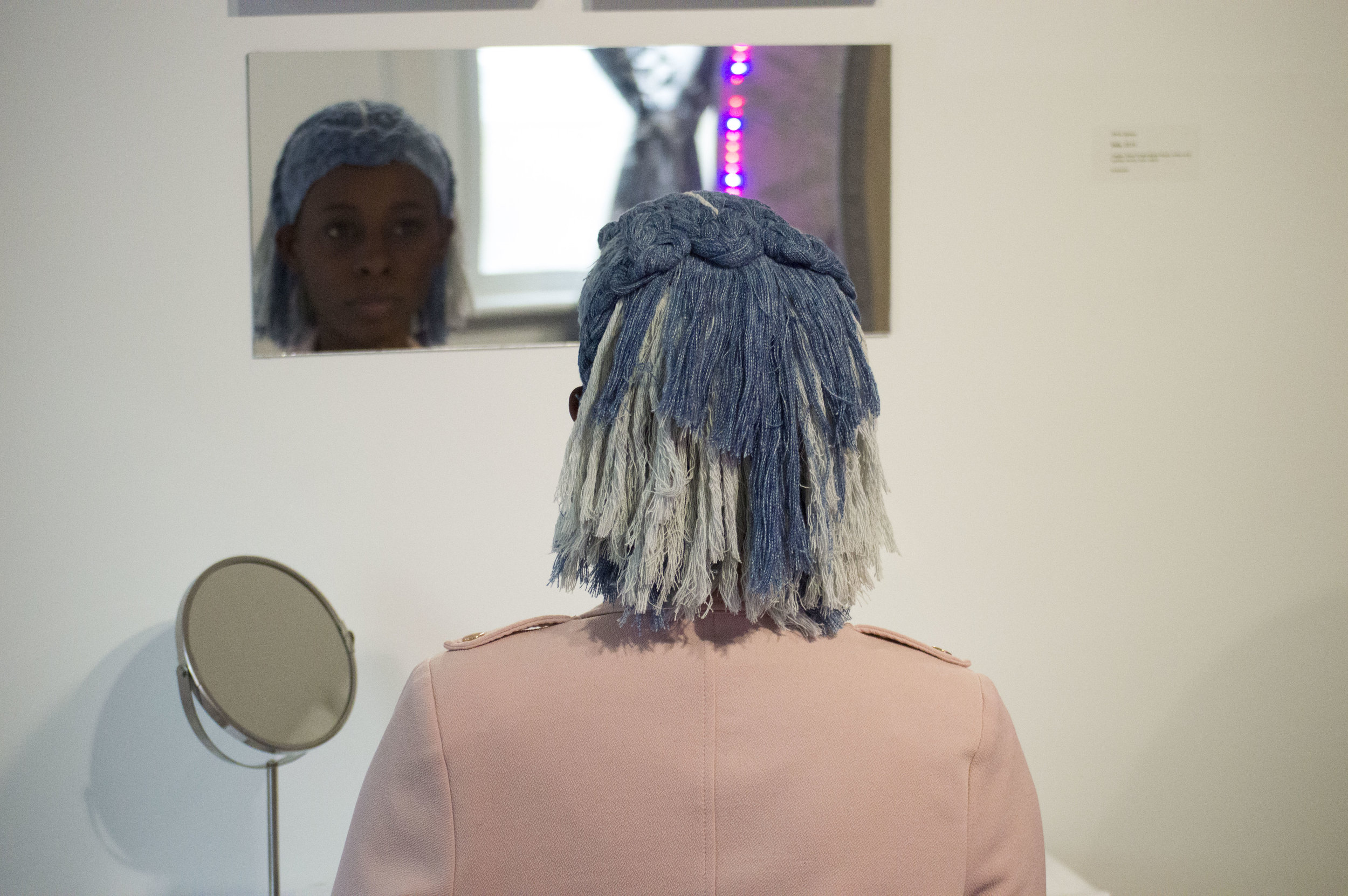 DenimWigs - by Renee Matthews, worn here by Chiedza Pasipanodya
