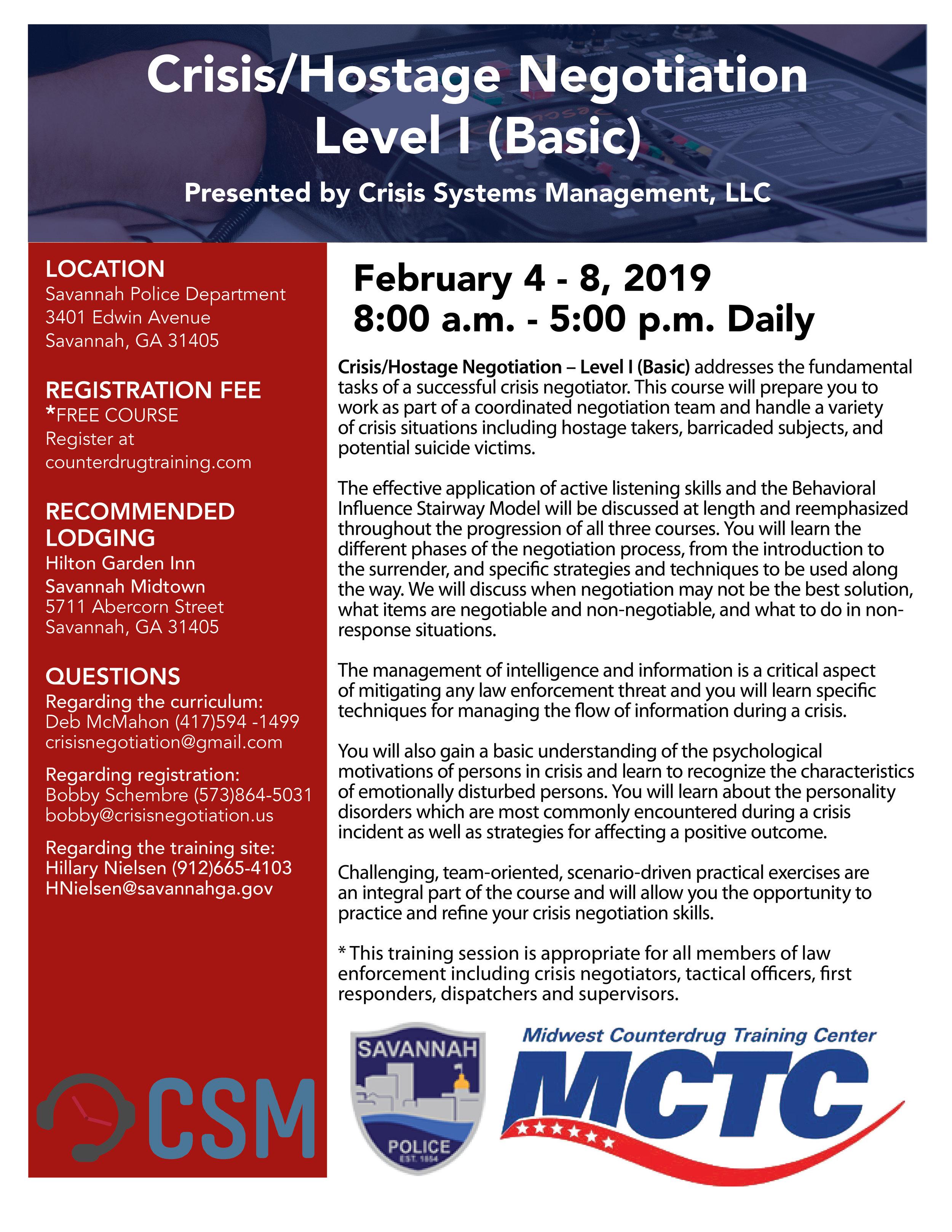 Training Calendar — Georgia Tactical Officers Association