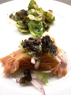 Poached Faroe Island Salmon/crispy skin/yuzu  Thyme roasted Brussel sprout
