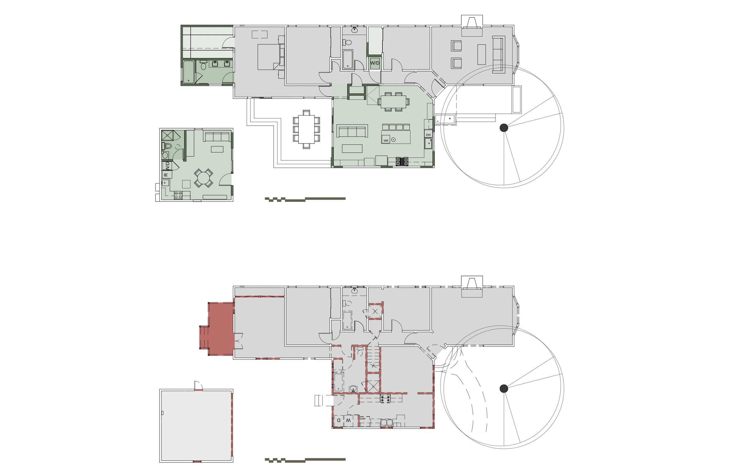 Demolition First Floor Plan (bottom), First Floor Plan (top) - the garage/ADU is in structure at the lower left of both drawings