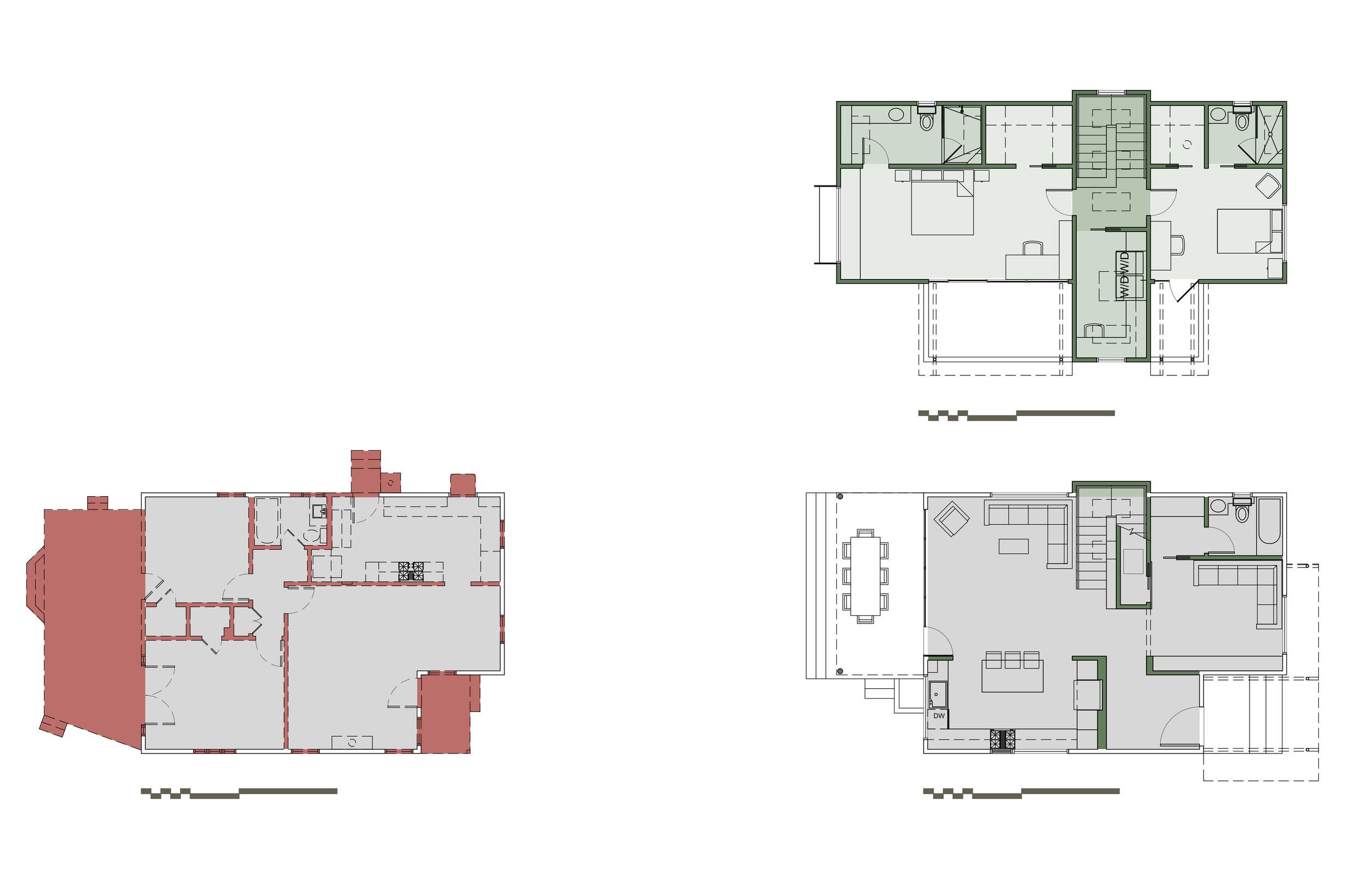 Demolition First Floor Plan (lower left), First Floor Plan (lower right), Second Floor Plan (upper right)