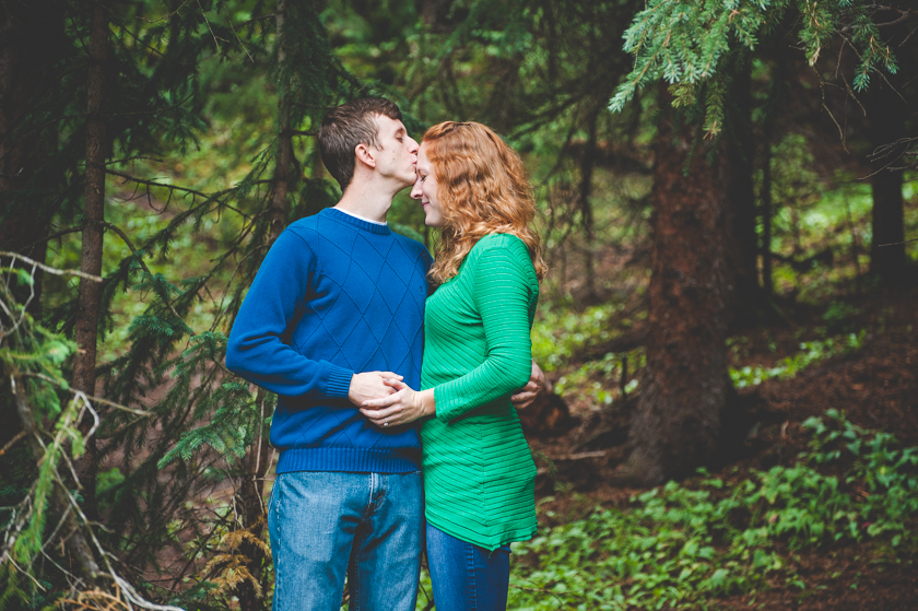 This engaged couple takes advantage of some photos together during a larger family photo session at Copper Mountain Resort.