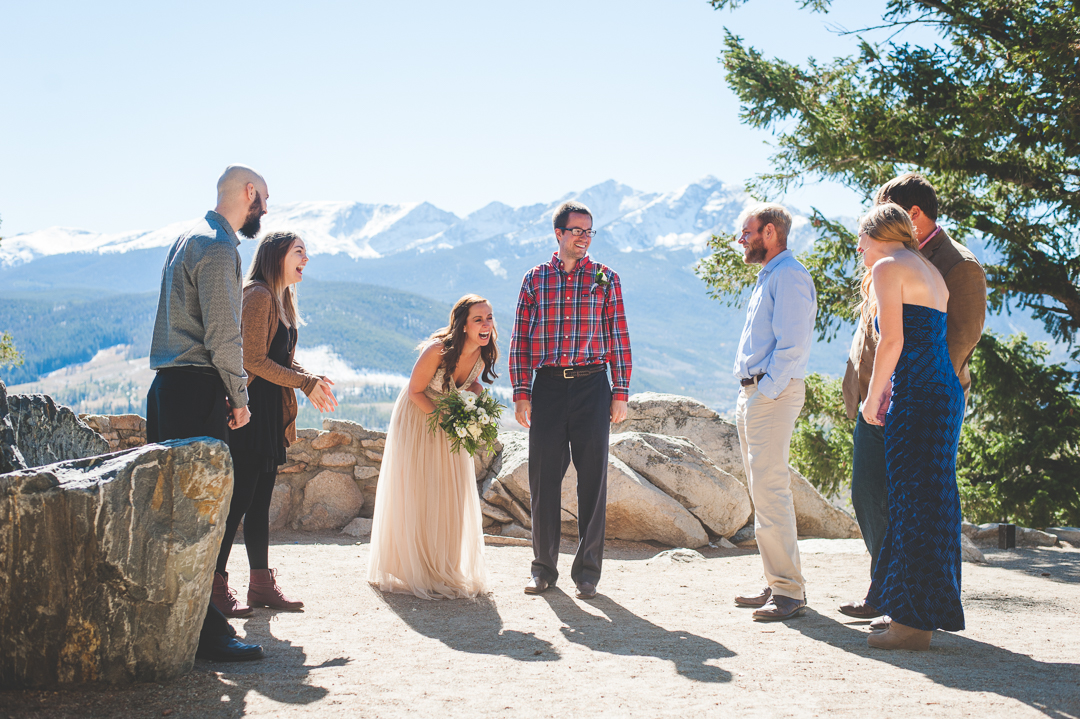 A genuine reaction from everybody at this Colorado mountain elopement after vows and the kiss! | Keeping Composure Photography