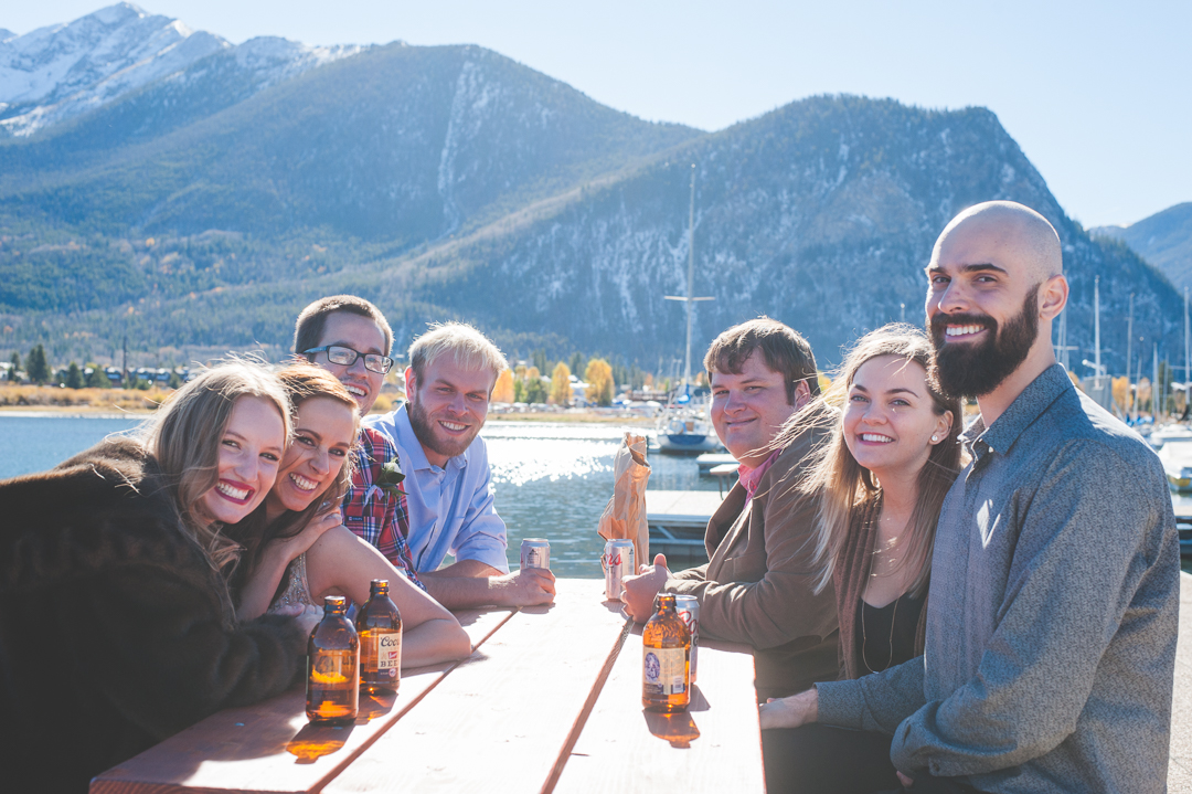 Smiles and laughter and more smiles. Good friends sharing good times by the lake after a beautiful autumn elopement in Colorado. |Keeping Composure Photography