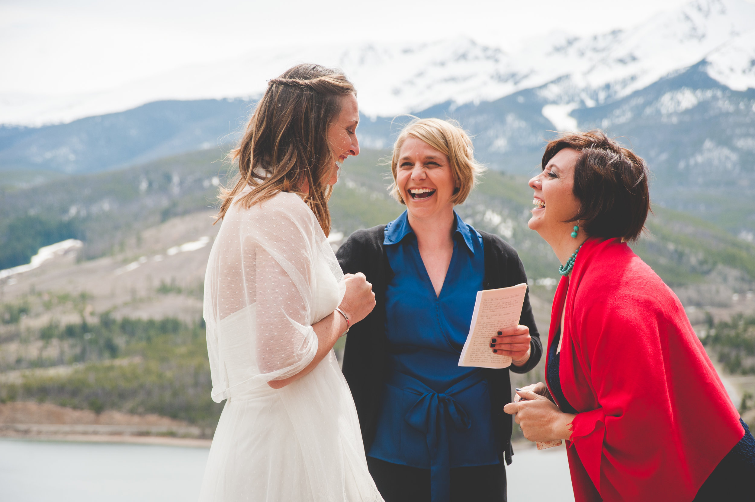 sweet same sex elopement overlooking Lake Dillon and Peak One in Frisco, Colorado
