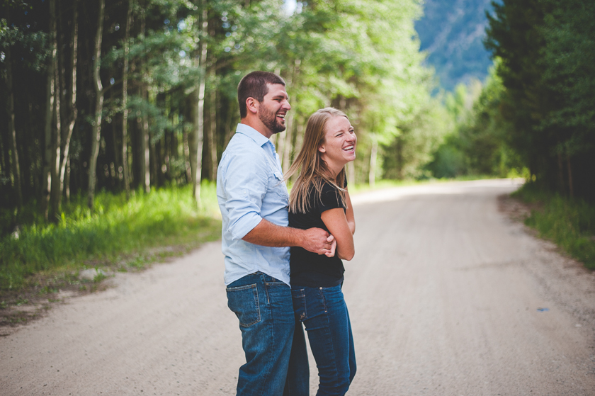 dancing and laughing during an engagement photo session!