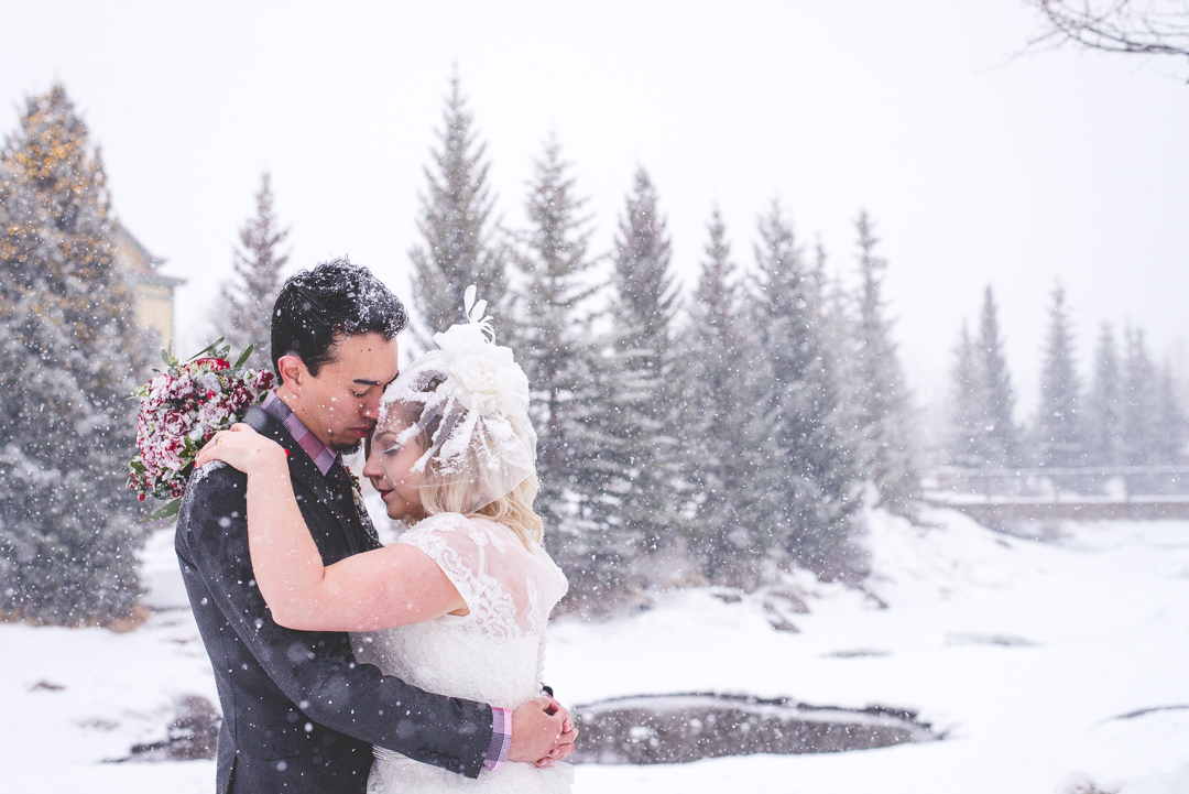 winter elopement in the snow in Breckenridge