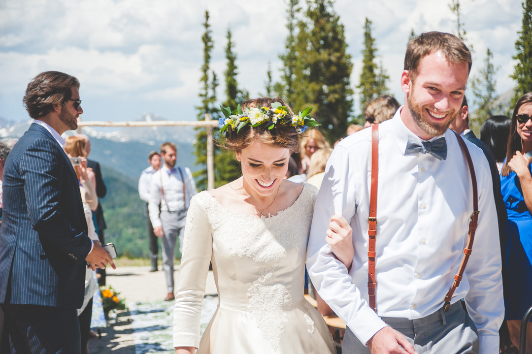 The best emotions come right when the bride and groom get to walk back down the aisle together!