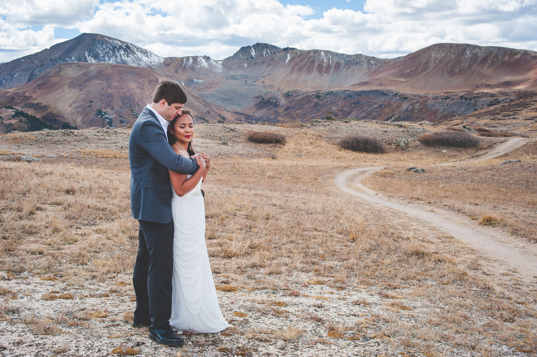 Adventures are the best ways to find great photo ops during weddings - these two headed to the top of Independence Pass before their wedding ceremony