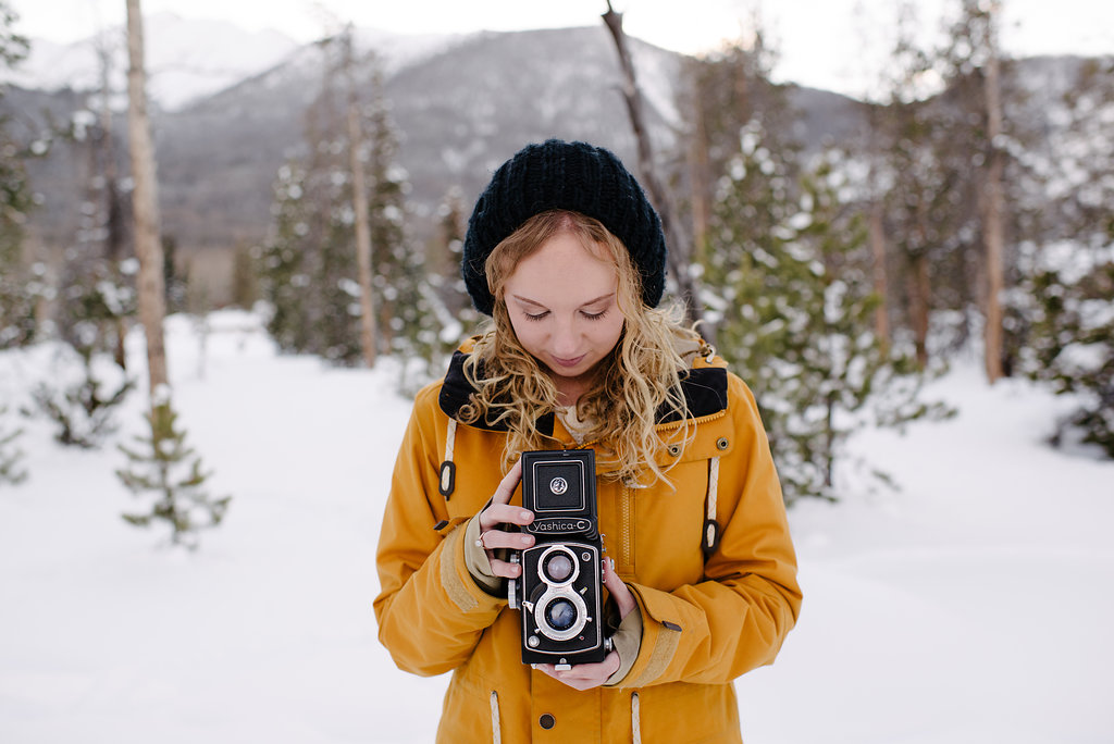 winter scene with Emily Schmutz, owner of summit mountain weddings and keeping composure photography