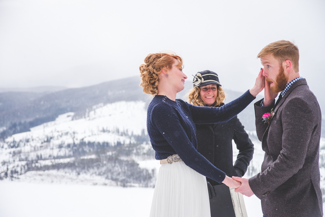 This Colorado groom shed a few tears during their beautiful winter elopement near Breckenridge, Colorado