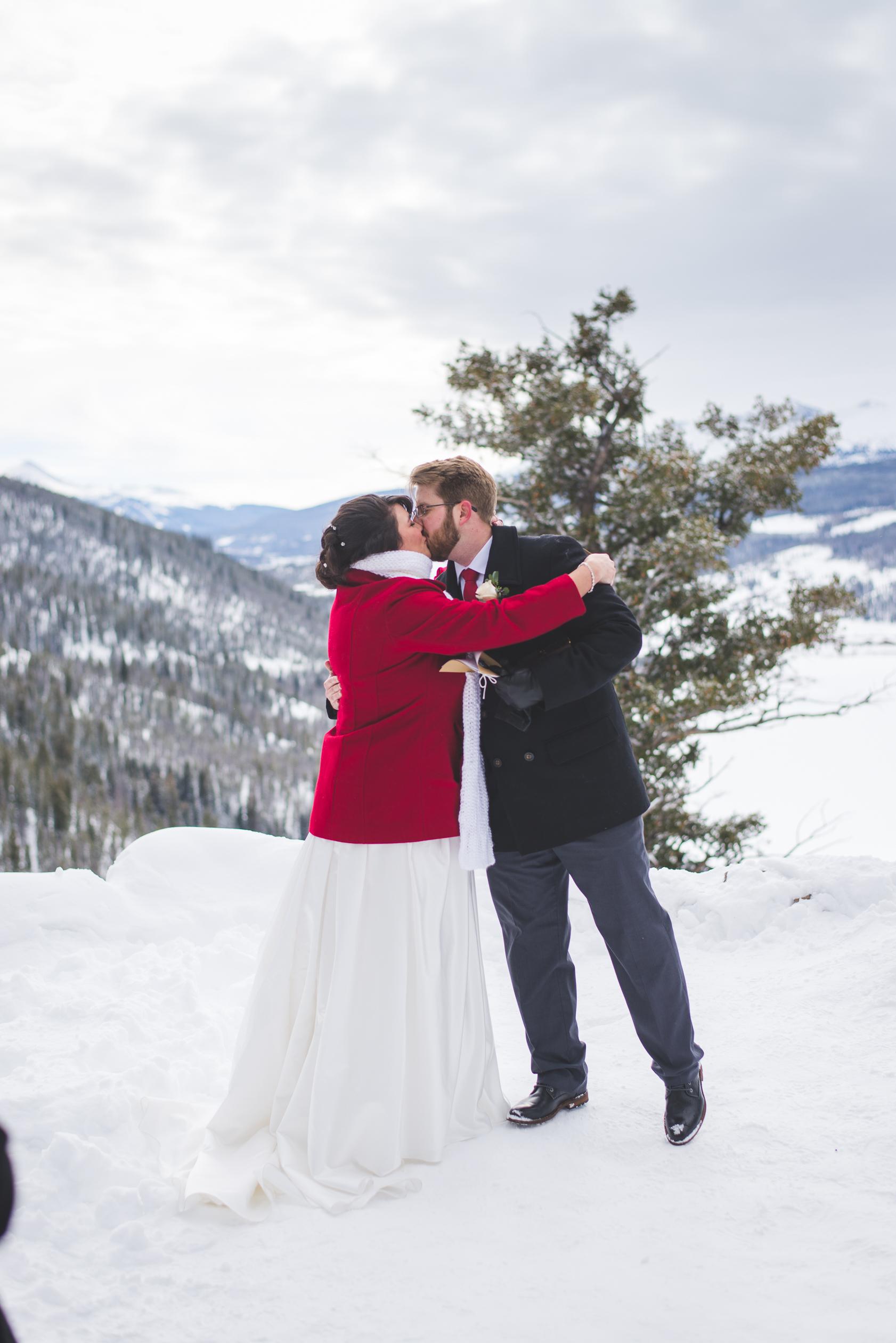 beautiful Colorado destination elopement in the mountains during winter, near Breckenridge, Colorado