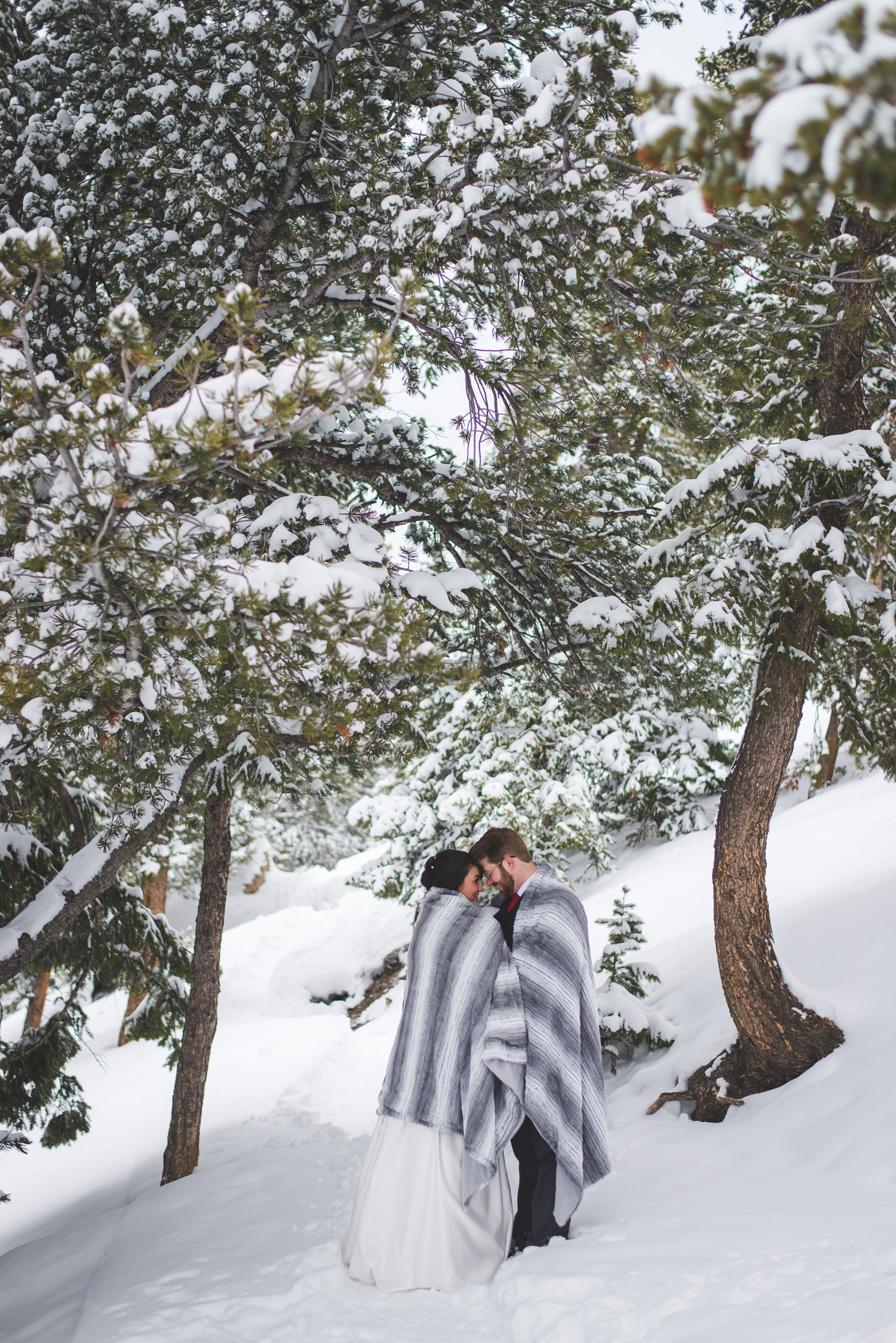 when you elope in Colorado, you bring a big blanket. It might be really cold! It also provides a a great excuse to cuddle up close in the snow...!