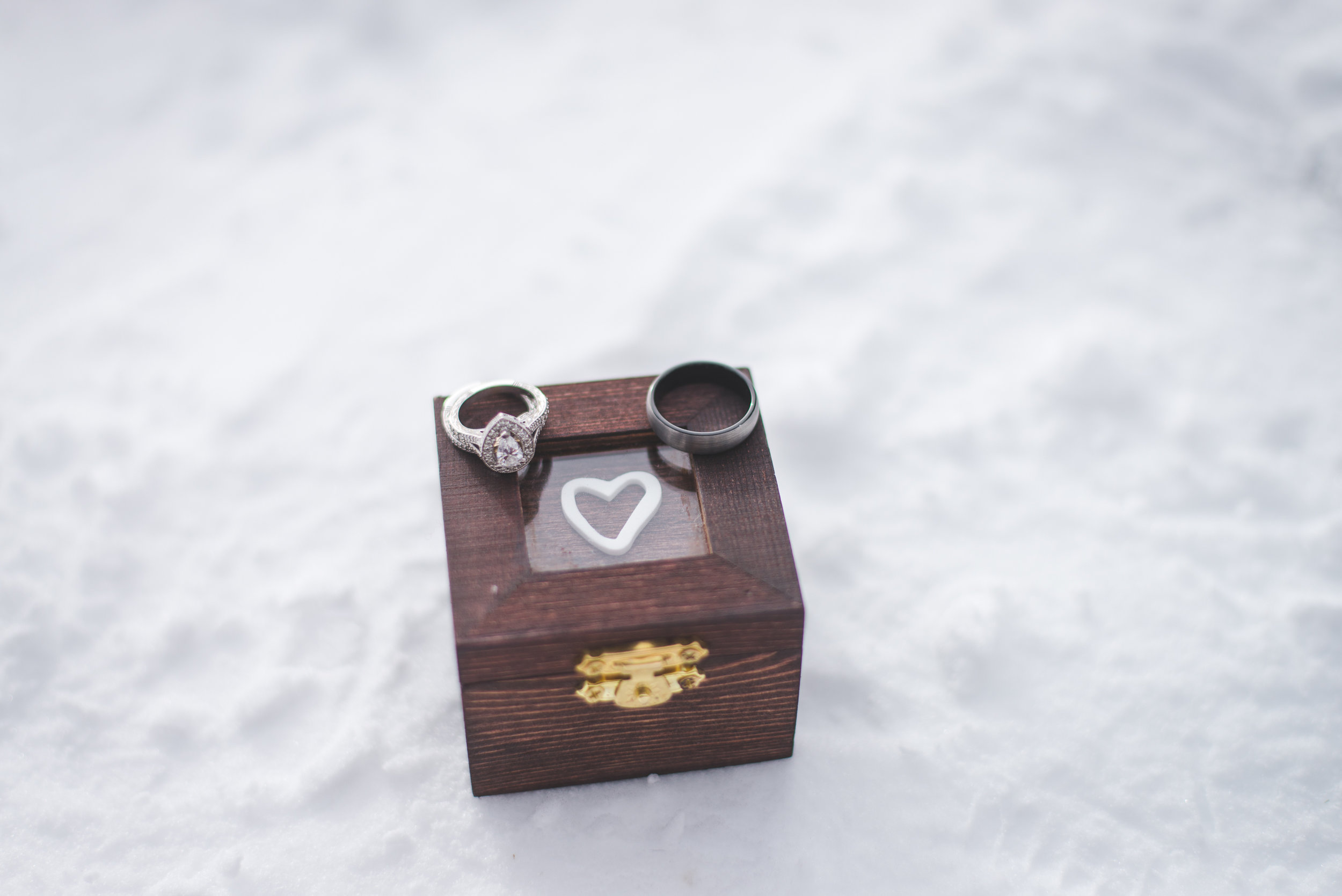 The bride was given a custom-made wood box for their wedding rings - a sweet detail in this Colorado destination elopement