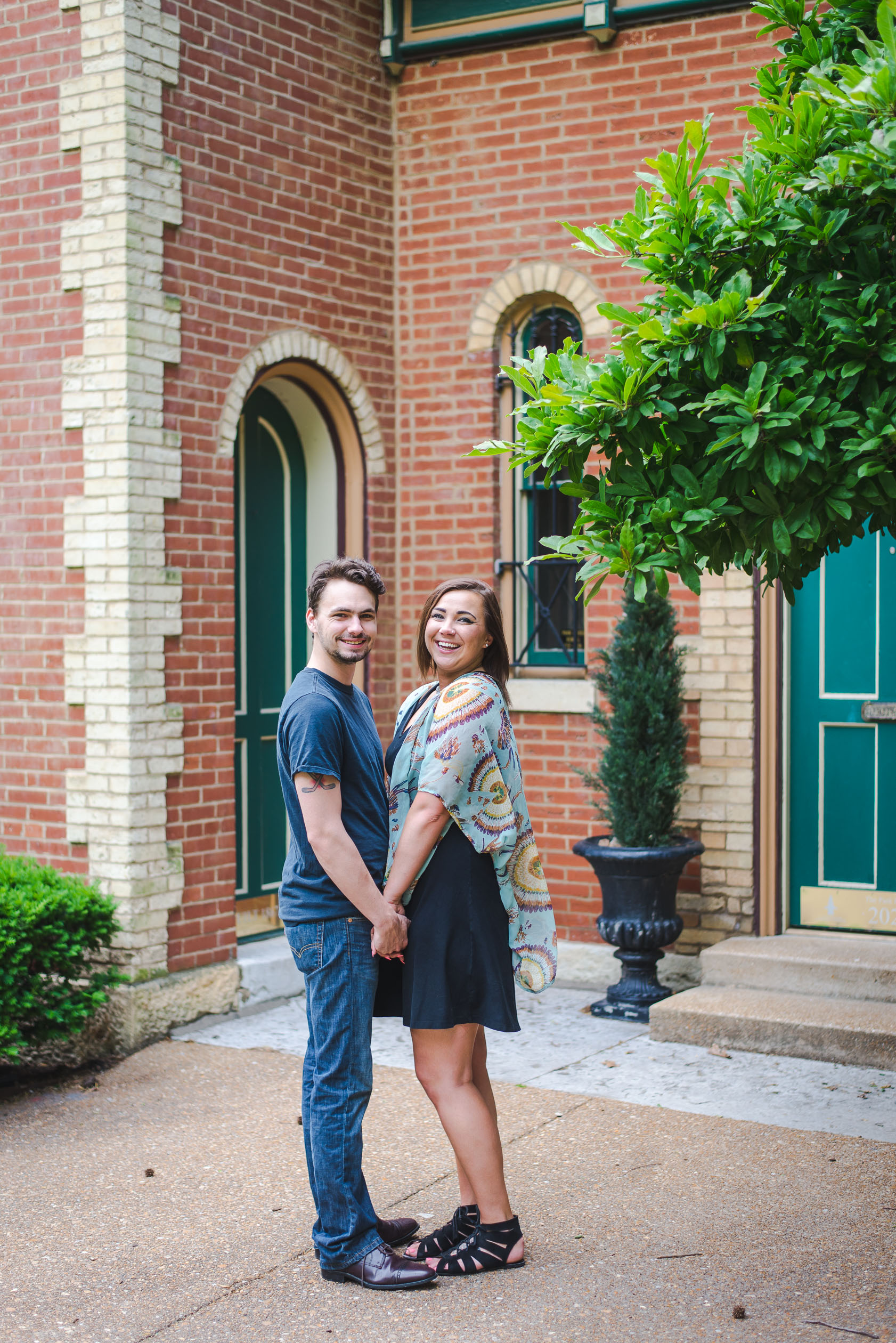 Couples portrait photography session in Lafayette Square Park in St. Louis.