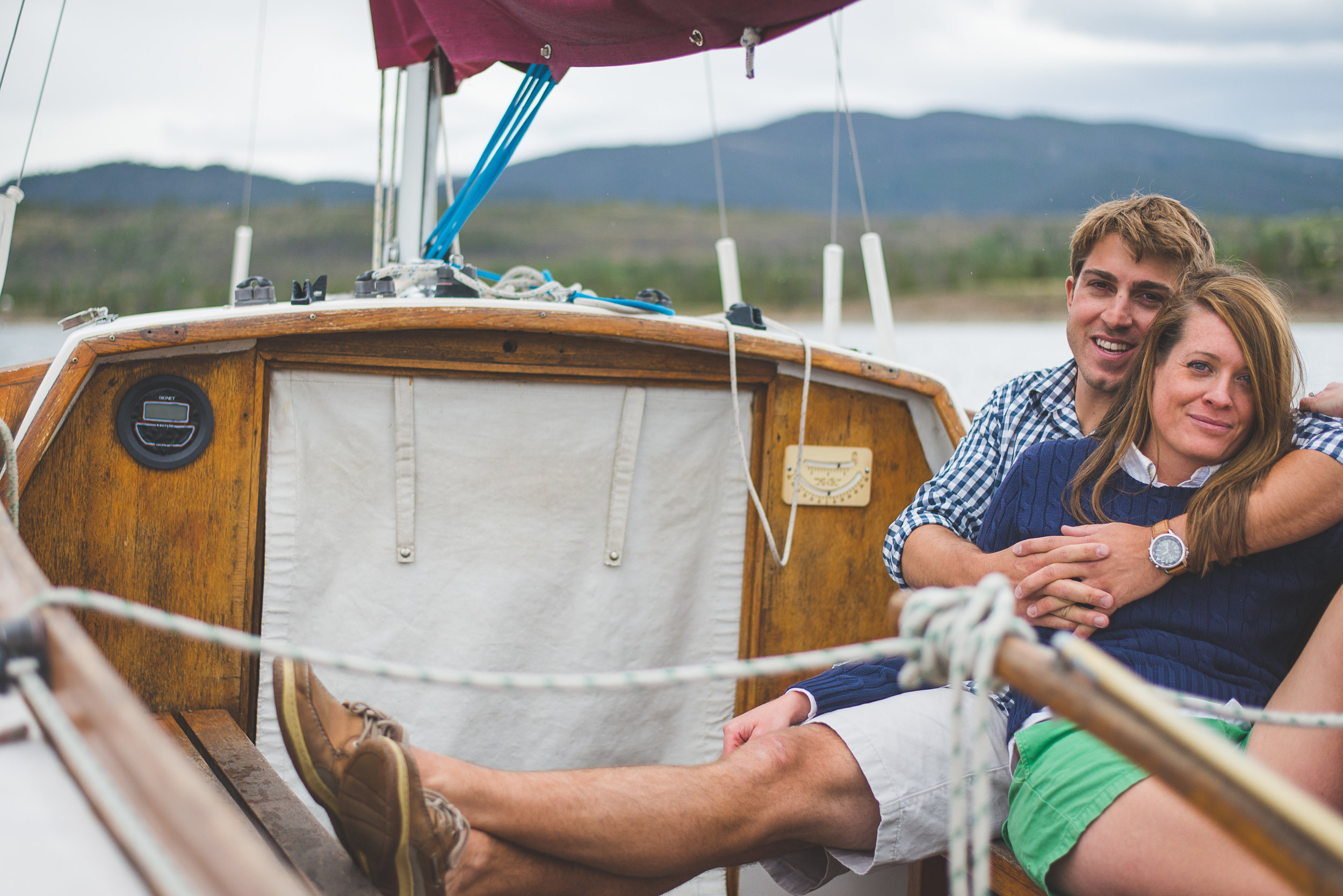 Engagement session on Lake Dillon with sailboat and bikes   It's All in the Details   Keeping Composure Photography
