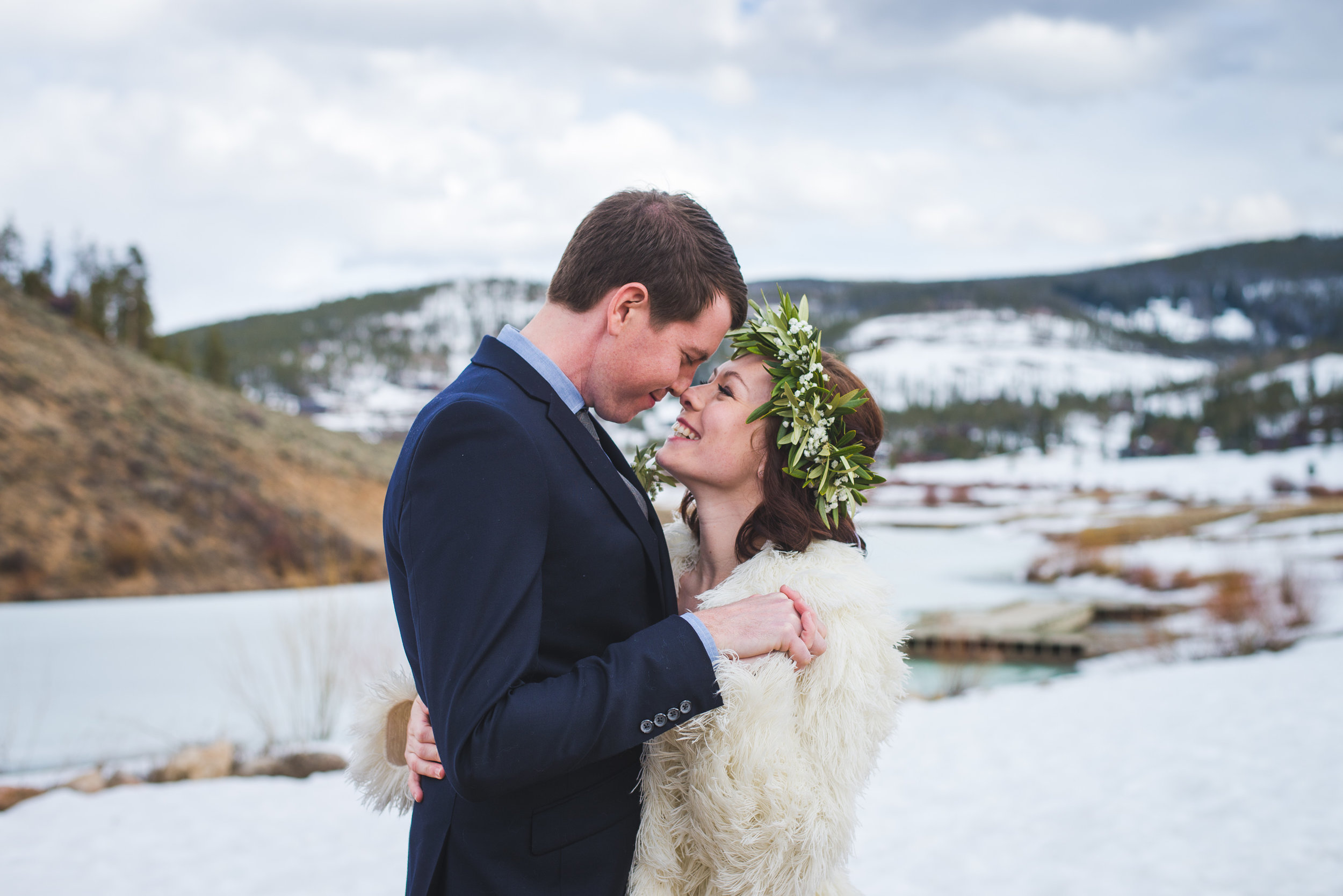 snowy spring elopement outside of breckenridge, colorado | flower crown and shawl winter bride style | keeping composure photography