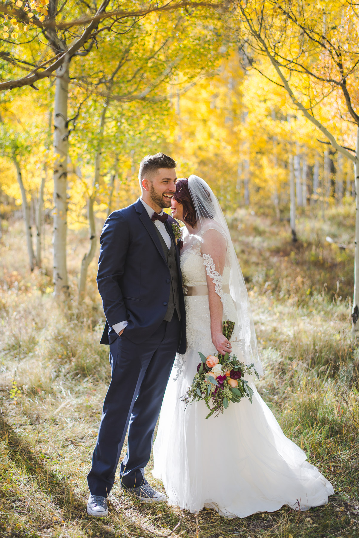 autumn fall elopement in september in the colorado mountains | yellow aspen trees || keeping composure photography + summit mountain weddings