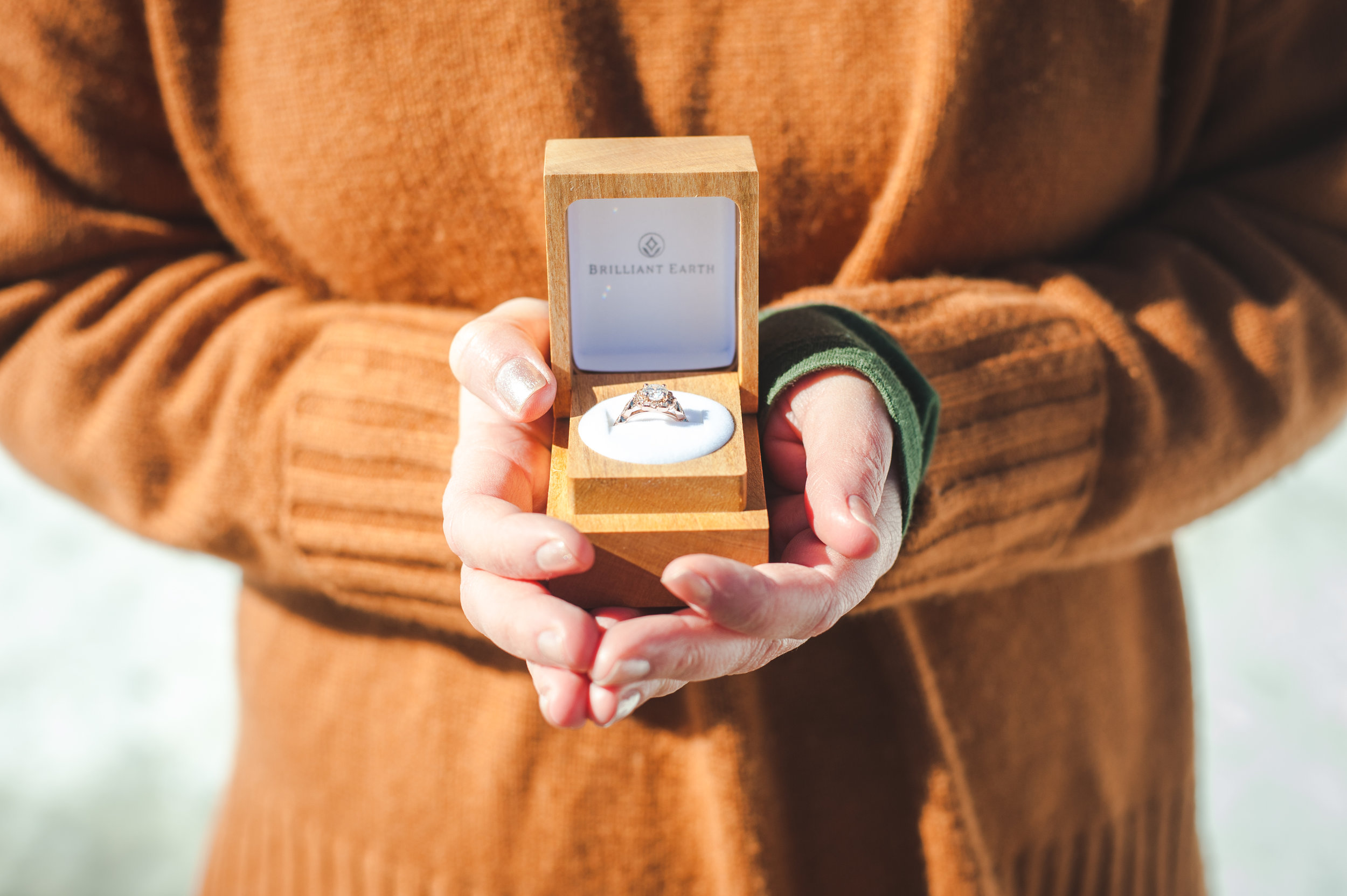 Engagement Ring in wood box |Sapphire Point engagement session sunny winter day in Colorado | Keeping Composure Photography