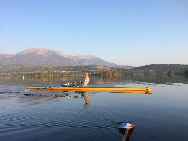 Rowing on Lake Dillon with the Frisco Rowing Center in Frisco, Colorado, with Mount Buffalo in the background