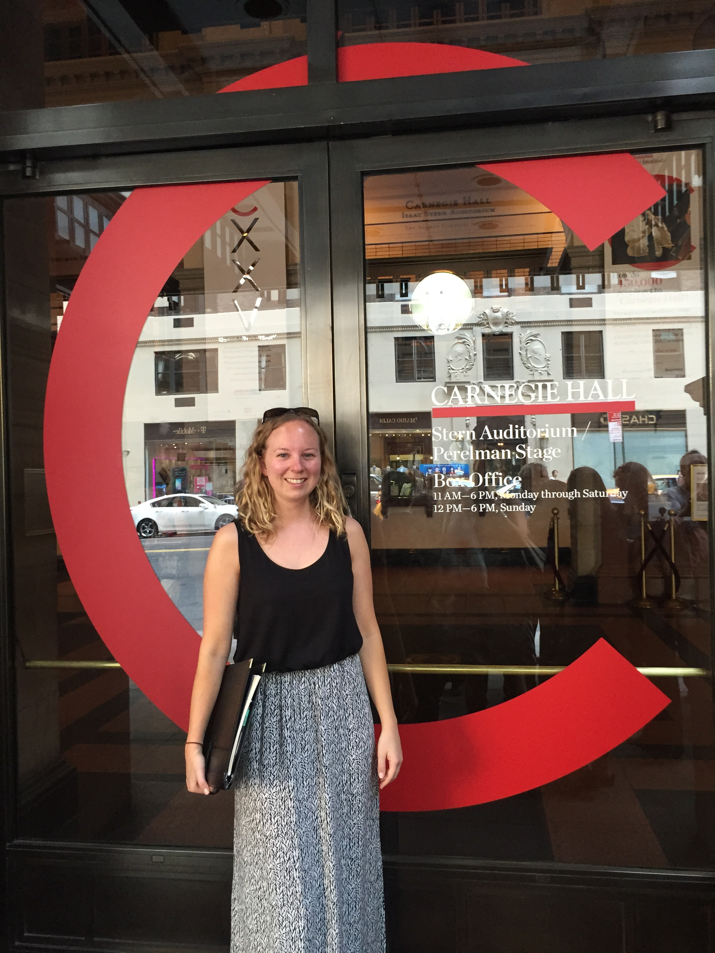 Emily at Carnegie Hall before performing John Rutter's Requiem