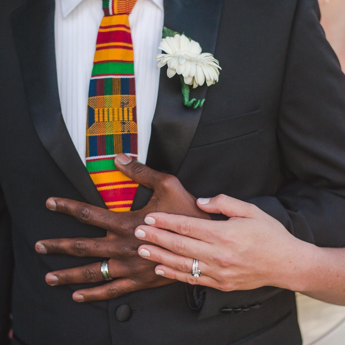 biracial wedding couple colorado