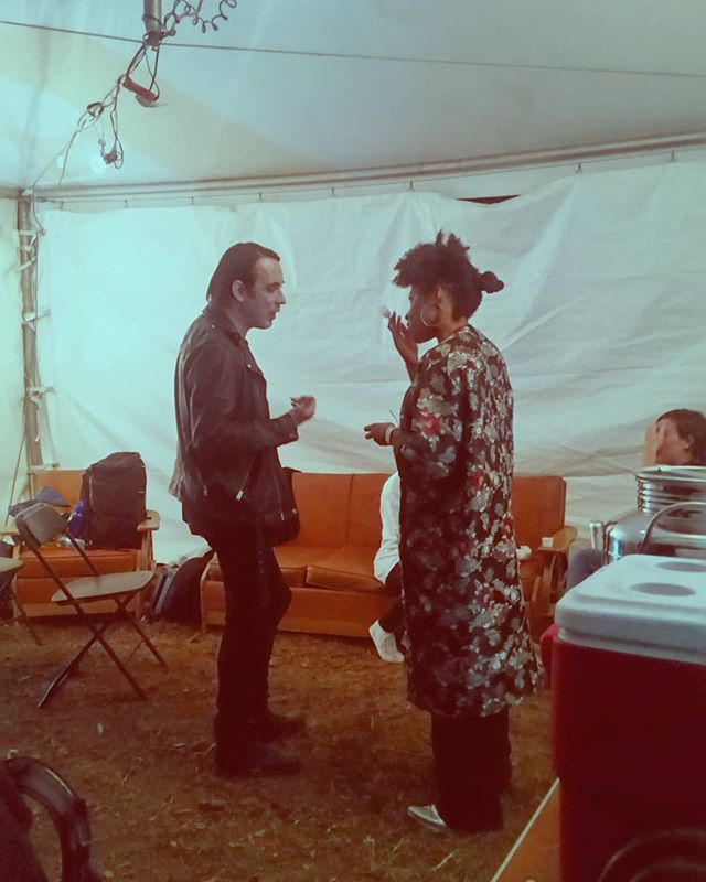 MINDS MEET.  Dan Boeckner and Alanna Stuart (of @bonjaymusic) exchanging ideas backstage before OUR HEADLINERS @wolfparade take the stage at 10:00PM. #ottawa #ottmusic #myottawa #musicfestival #wolfparade #summer #bonjay #montreal #toronto #greenroom #backstage #bonfire613 #arbfest2018