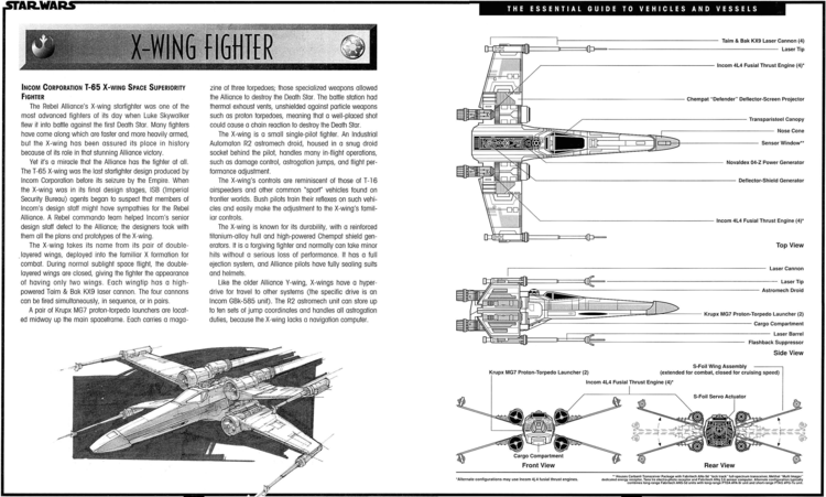 ABOVE:  Star Wars:The Essential Guide to Vehicles and Vessels   (1996) written by Bill Smith–with artwork by Doug Chiang and Troy Vigil–was one in a series of technical manuals that helped round out the novels, comics and games of the Expanded Universe.  LEFT:X-wing being serviced in Yavin hangar;X-Wing in a dogfight with a TIE fighter.