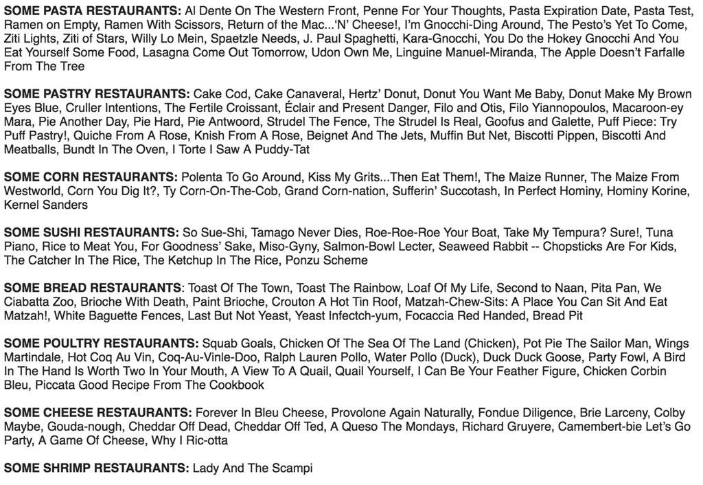 Megan Amram's list of food pun restaurant names