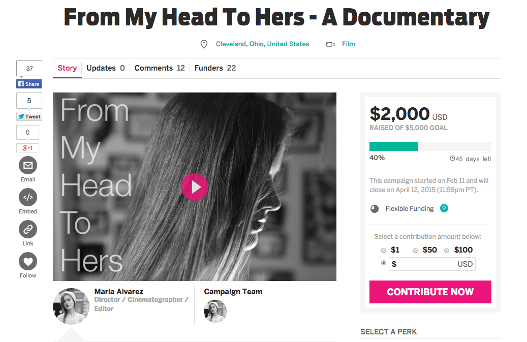 "My film, ""From My Head To Hers"", has received $2,000 on IndieGogo. We are almost halfway there. Thank you for your support and please continue to share the word. Here is the link to my page:  http://igg.me/at/myhead2hers"