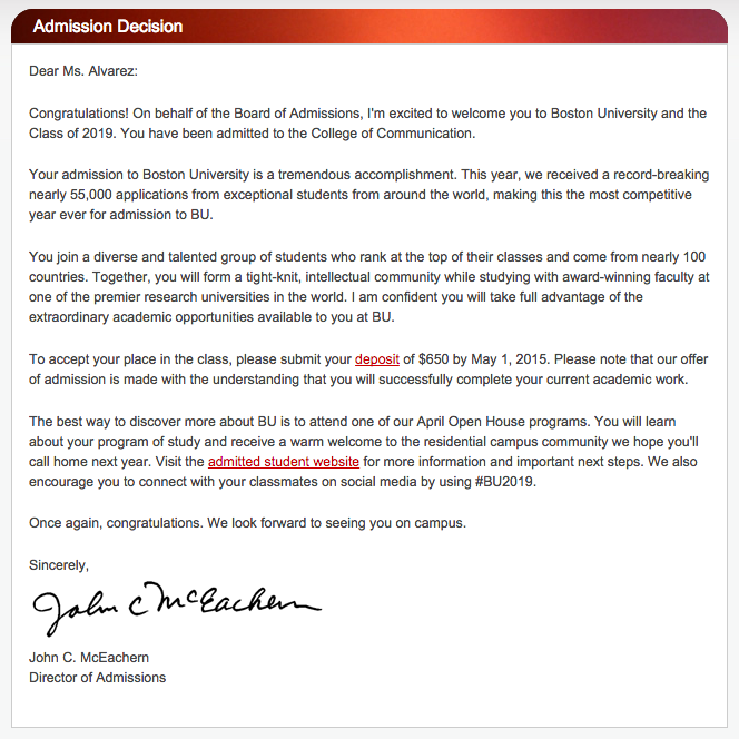 I have been accepted to Boston University to study Film & Television Production at their College of Communication.