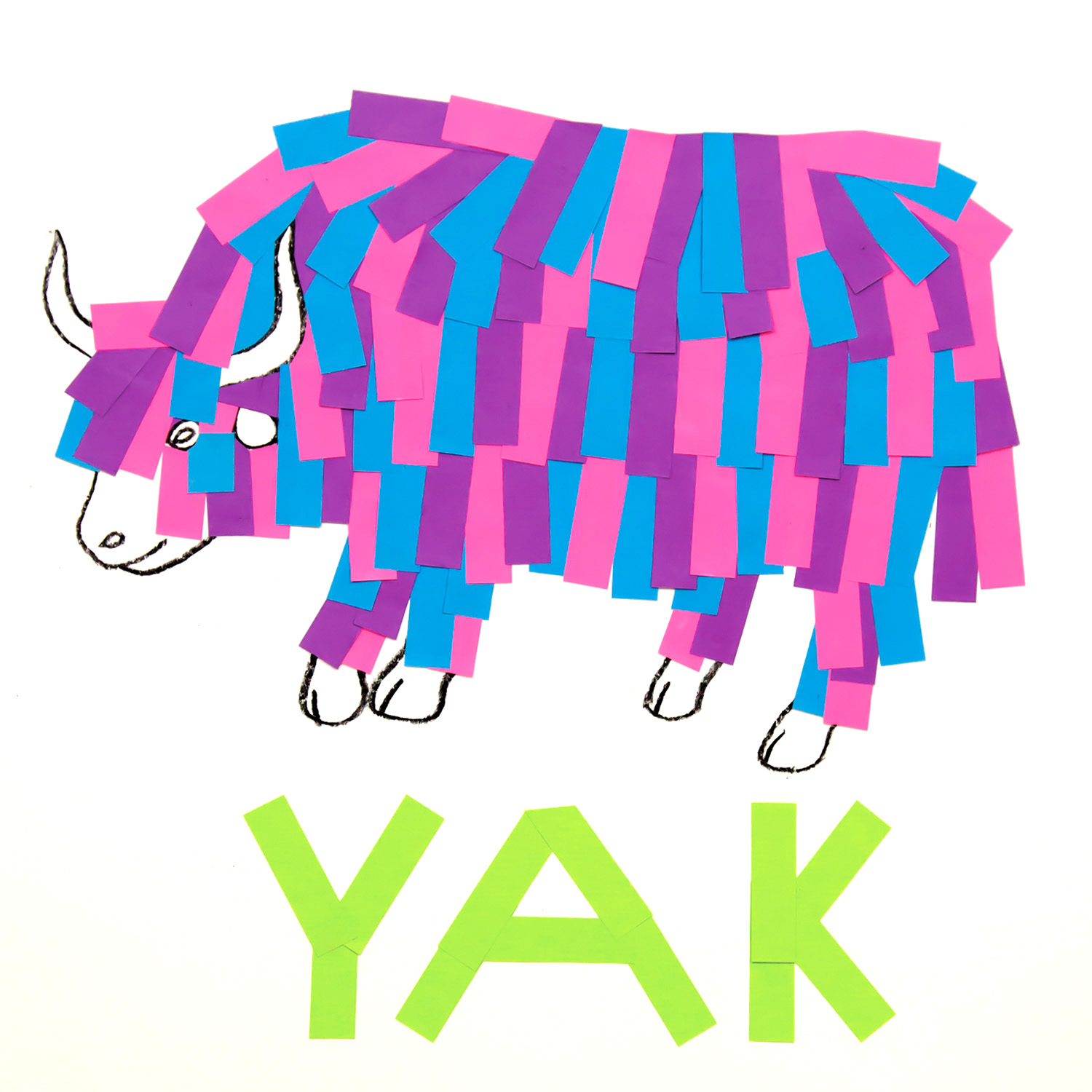 Yak  collage of sticky tabs, pencil