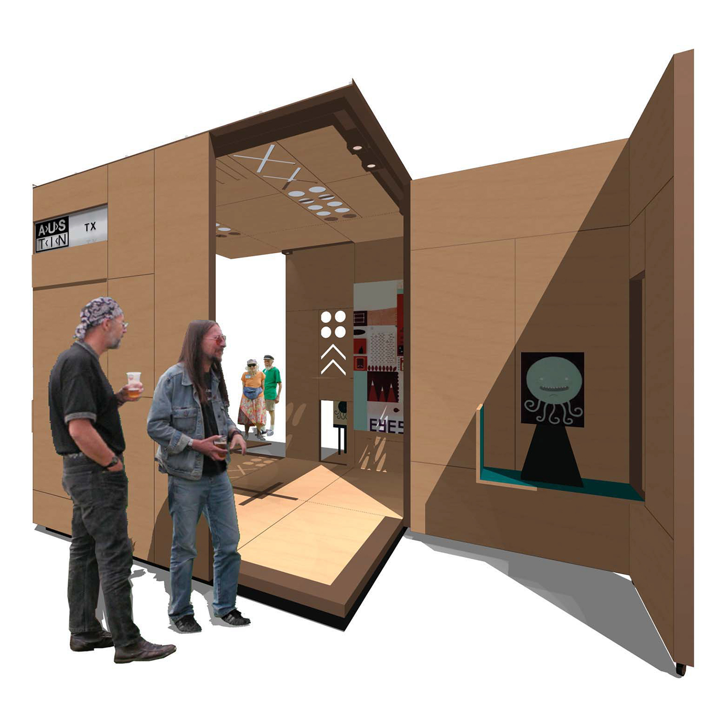 Temporary Outdoor Gallery Space  design competition, Austin