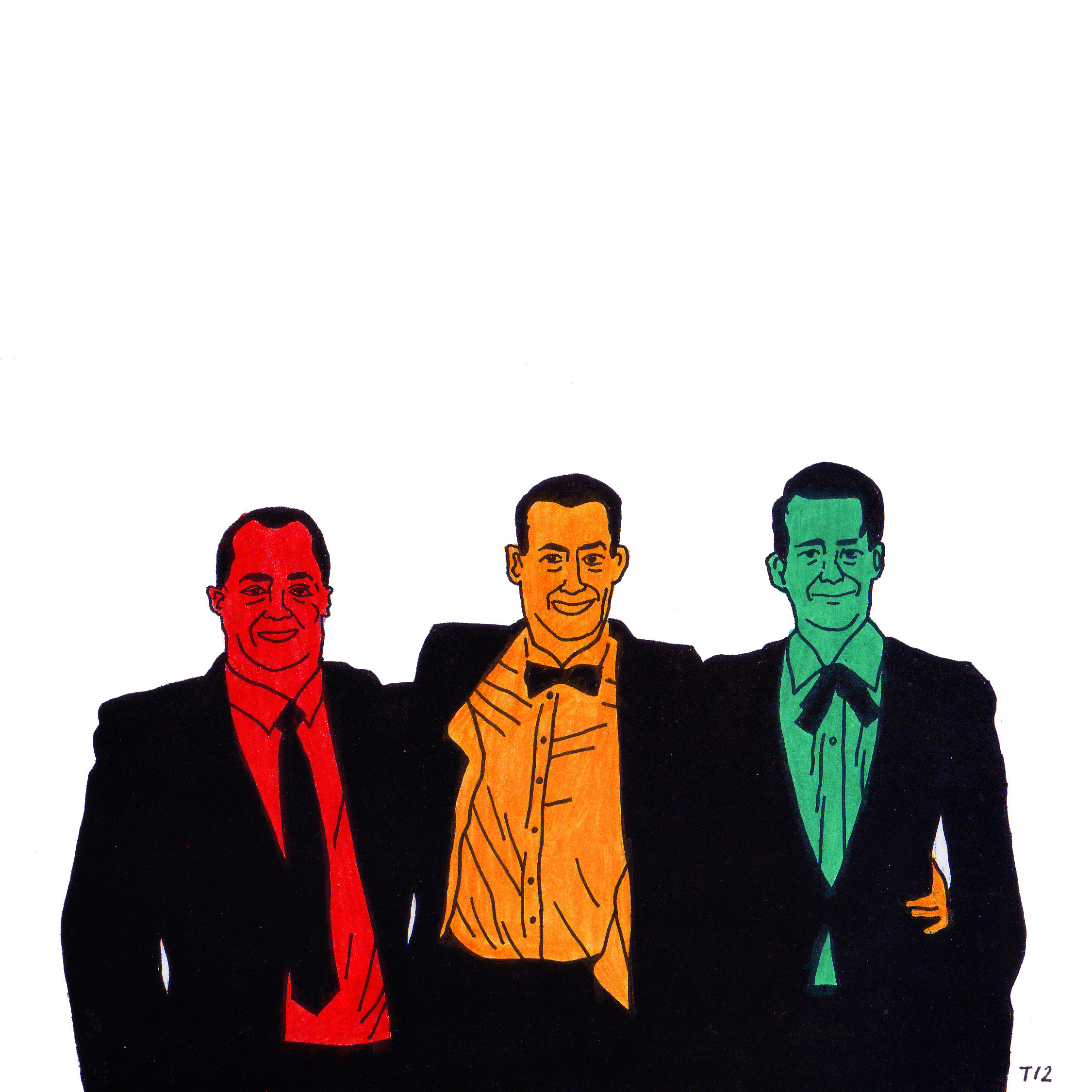 Three Brothers Drawing  pen, coloured pencil