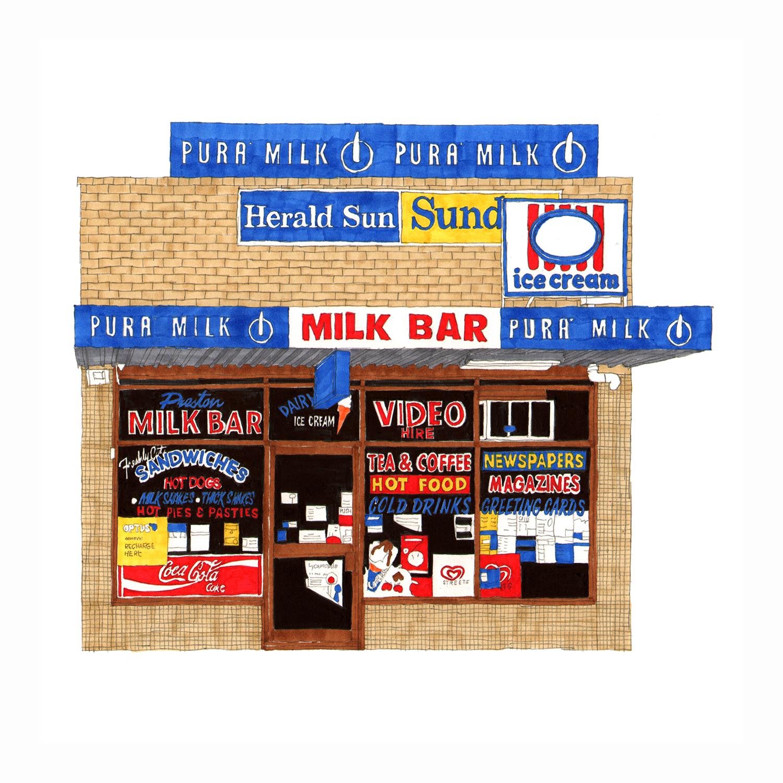 Preston Milk Bar  pencil, marker pens