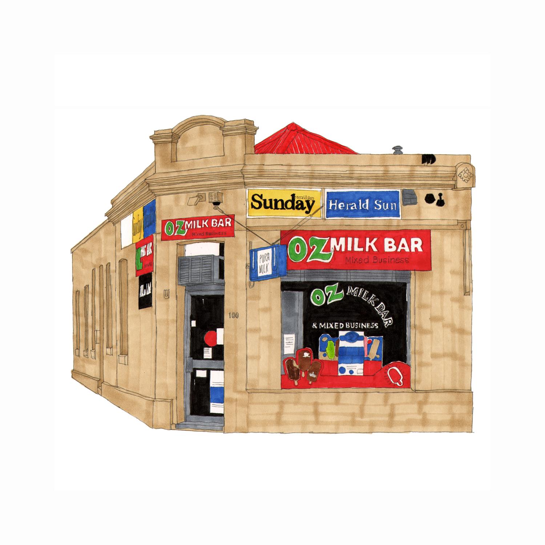 Oz Milk Bar, North Fitzroy  pencil, marker pens