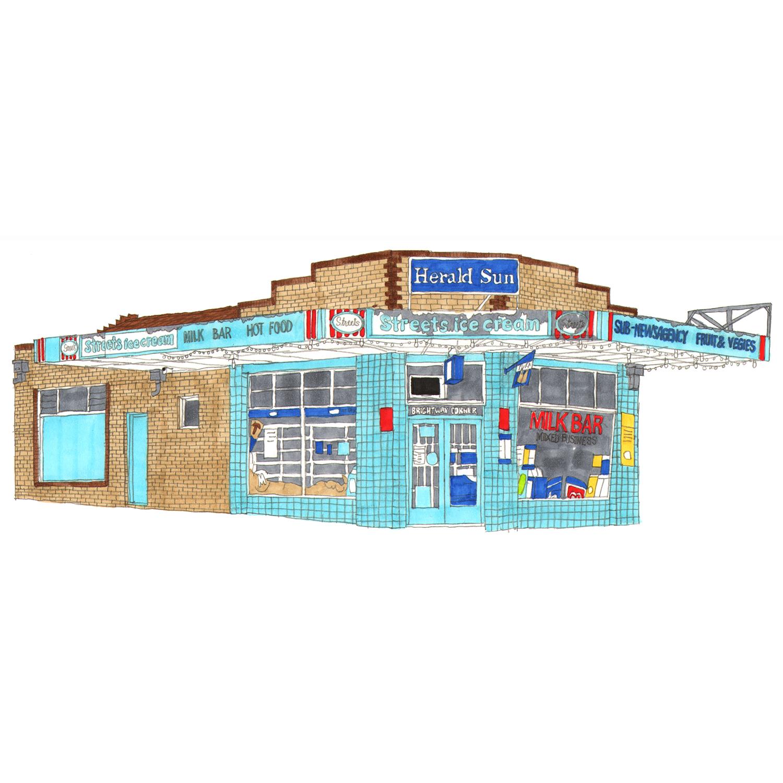 Brightway Corner Milk Bar, Preston  pencil, marker pens