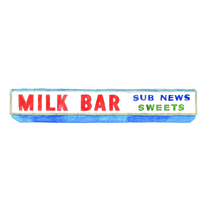 Milk Bar Sign, Tomboy Cafe  drawing, pencil,watercolour