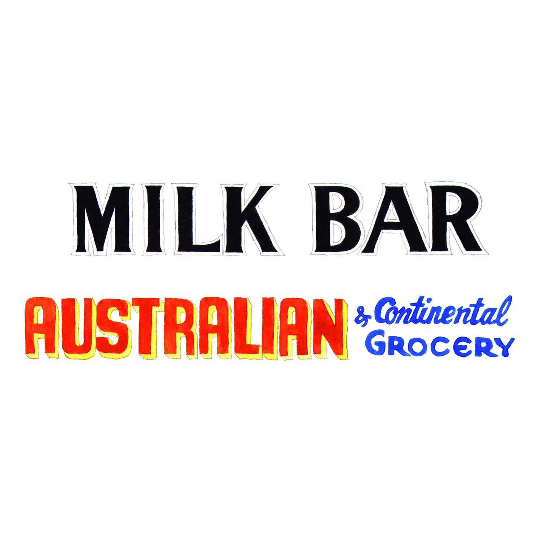 Milk Bar Sign, Adam's Milk Bar  drawing, pencil, watercolour