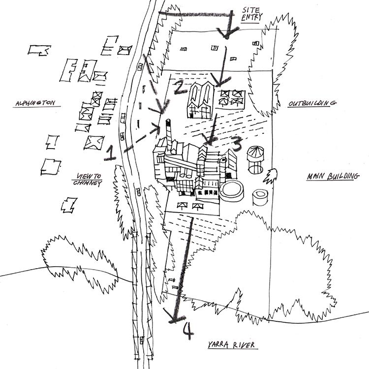 Amcor Paper Mill,   Alphington   key site relationships sketch